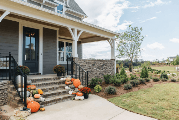 fall decor for front porch with stairs