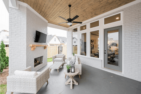 outdoor patio with fireplace hoover al