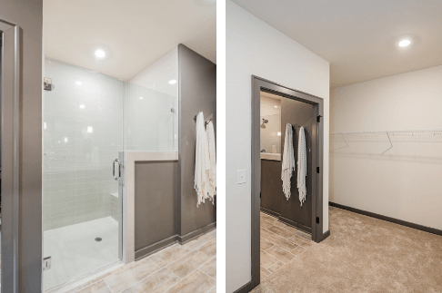 large cased door openings and zero entry shower for handicap
