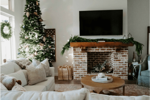 christmas living room decor fireplace mantle
