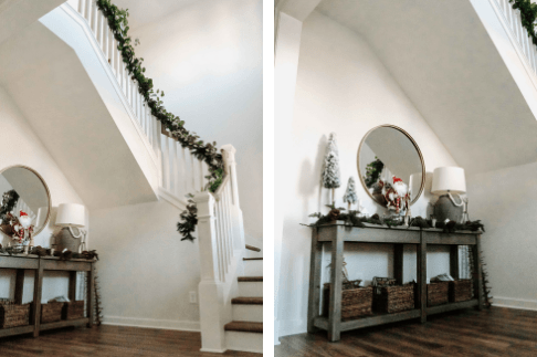 entry way staircase holiday decor ideas