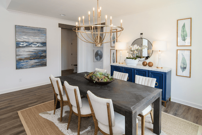 gold transitional lighting fixture in dining room